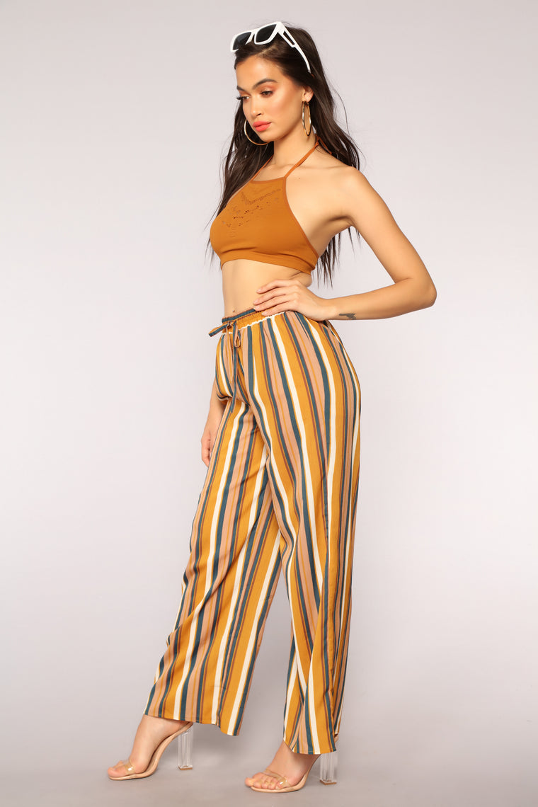 Put You In Line Stripe Pants - Mustard