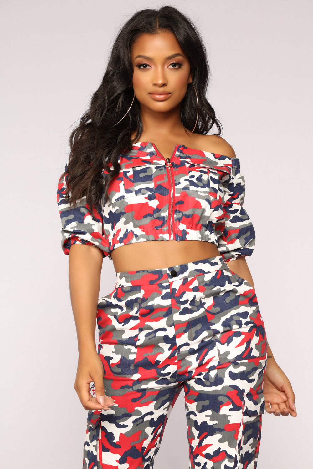 Places To Go Off Shoulder Top - Red Camo