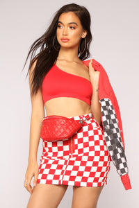 Jordan One Shoulder Crop Top - Red