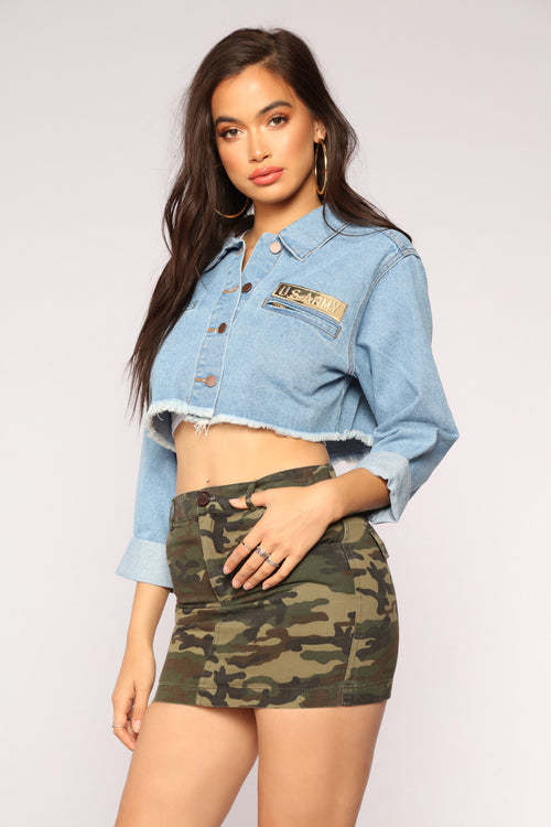 Commanding Officer Cropped Jacket - MediumBlue