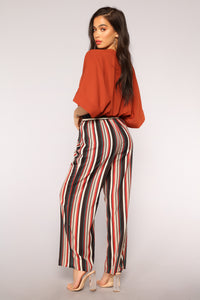 Put You In Line Stripe Pants - Black