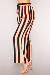 Down The Line Stripe Pants - Taupe