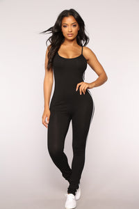 Kiara Striped Jumpsuit - Black