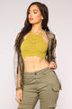 Demi Halter Crop Top - Olive