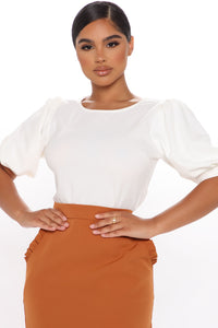 Only Me Puff Sleeve Top - Off White Angle 1