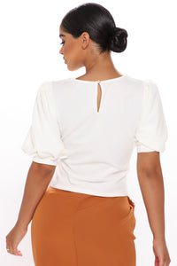 Only Me Puff Sleeve Top - Off White Angle 3