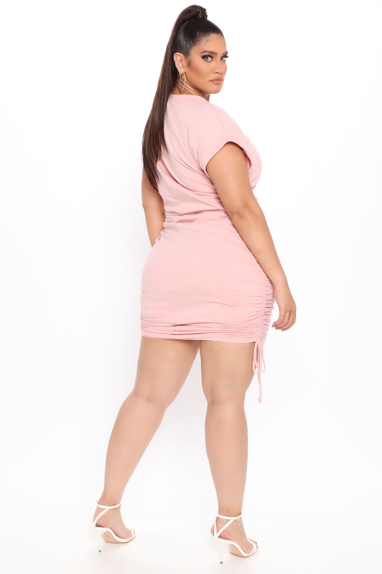 Always On My Mind Ruched Mini Dress - Blush