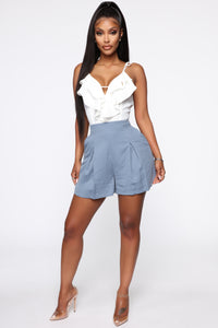 Contrasting Ideas Sleeveless Romper - Blue