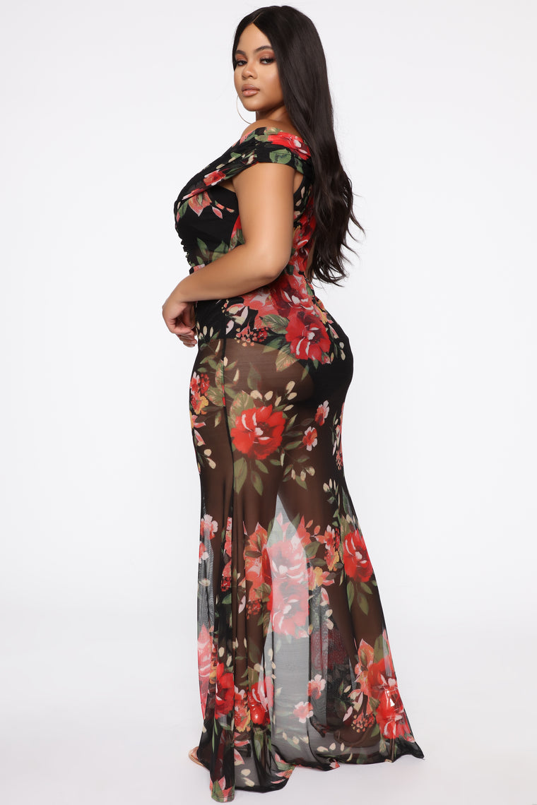 Sunset Glow Maxi Dress - Black/combo