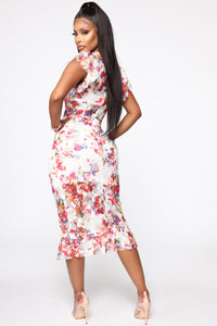 Treat Me Like Your Lady Floral Mesh Midi Dress - Multi