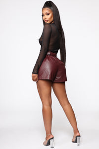 Ready To Rock Paperbag Waist Shorts - Wine
