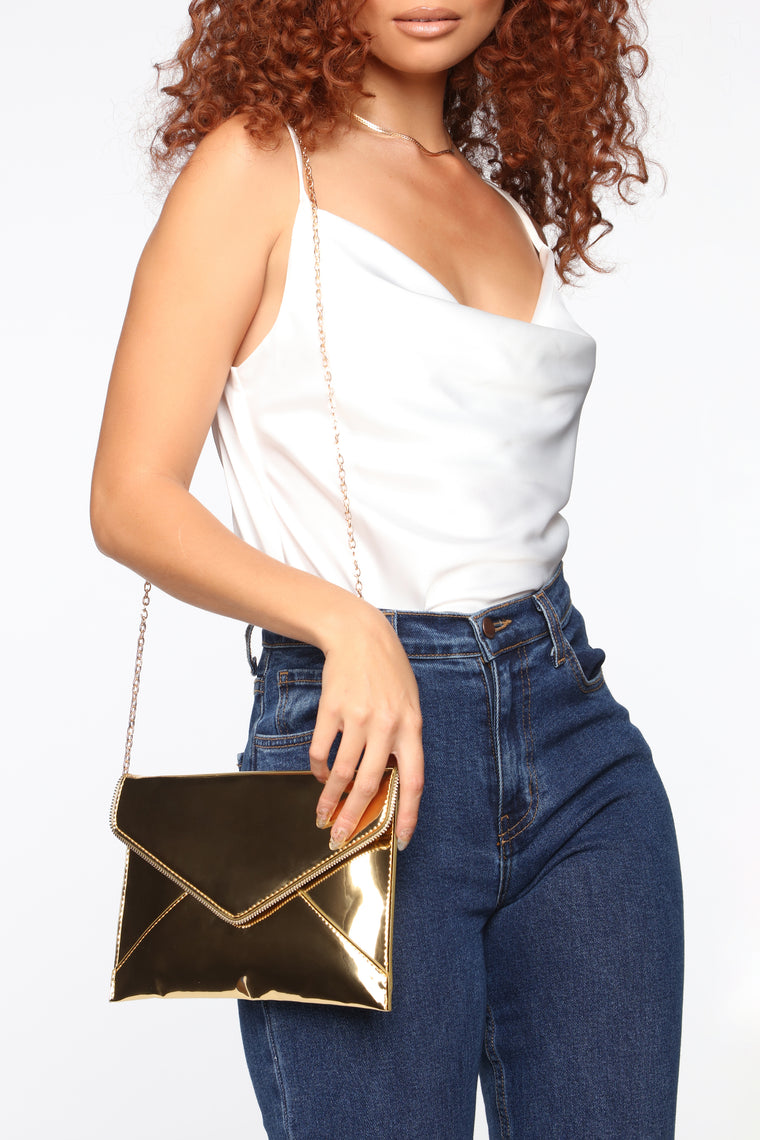 Out of Town Metallic Clutch - Gold