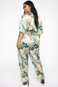 Tropical Floral Cutie Jumpsuit - Green/Combo