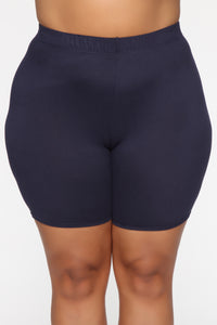 Can't See Through Me Super High Rise Bike Short - Navy