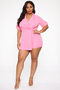 Boss Babe Moves Blazer Romper - Hot Pink Angle 7