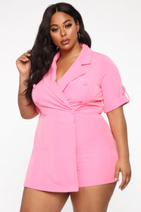 Boss Babe Moves Blazer Romper - Hot Pink Angle 6