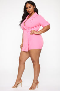 Boss Babe Moves Blazer Romper - Hot Pink Angle 8