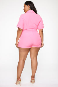 Boss Babe Moves Blazer Romper - Hot Pink Angle 9