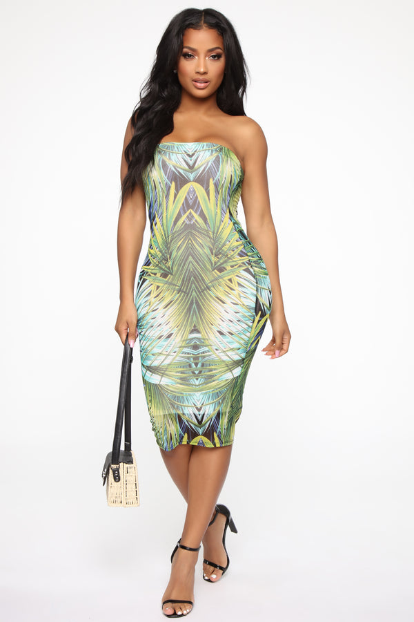 e79f8cb1afd73 Tropical Memory Tube Midi Dress - Green/Combo