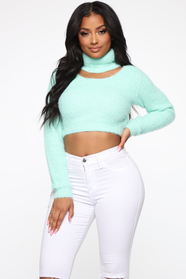 db304bf6e6d A Little Cold Cut Out Sweater - Mint