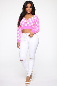 Played You Check Print Fuzzy Sweater - Pink