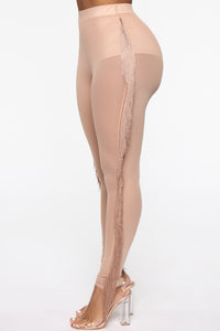 All You Need Fringe Mesh Leggings - Nude
