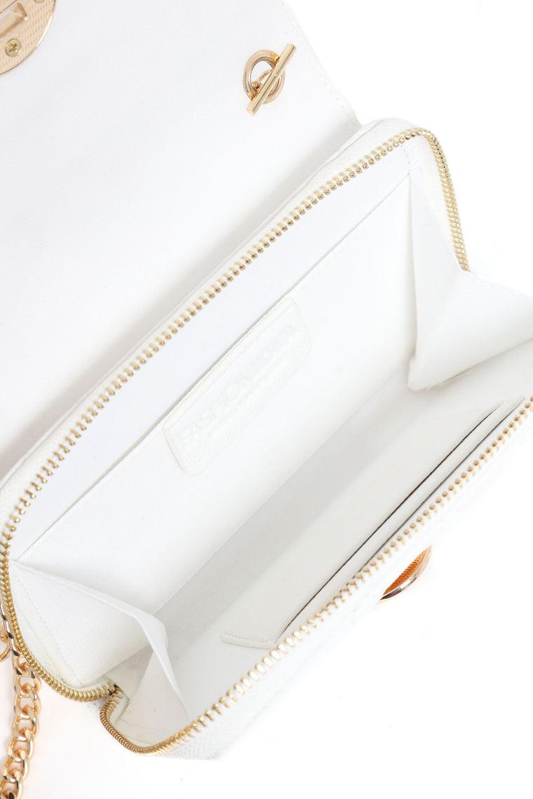Proceed With Caution Handbag - White