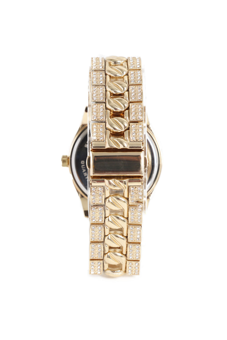 Broken Hearted Bling Solitaire Watch - Gold/Blue