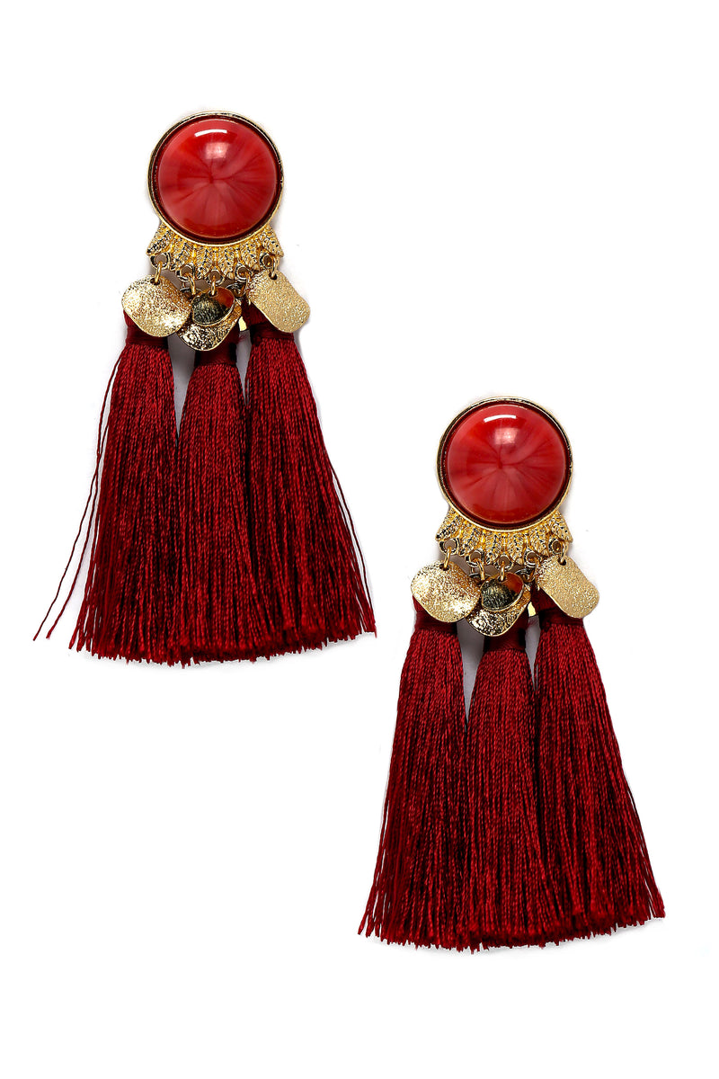 Melody Tassel Earrings - Burgundy