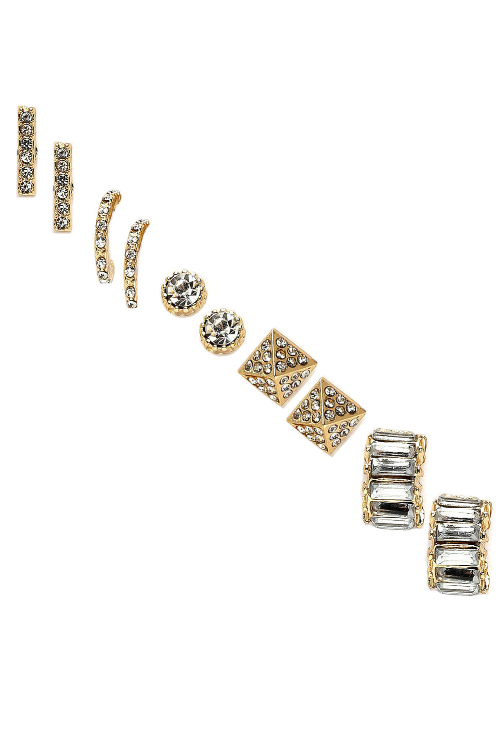Studs and Stones Earring Set - Gold