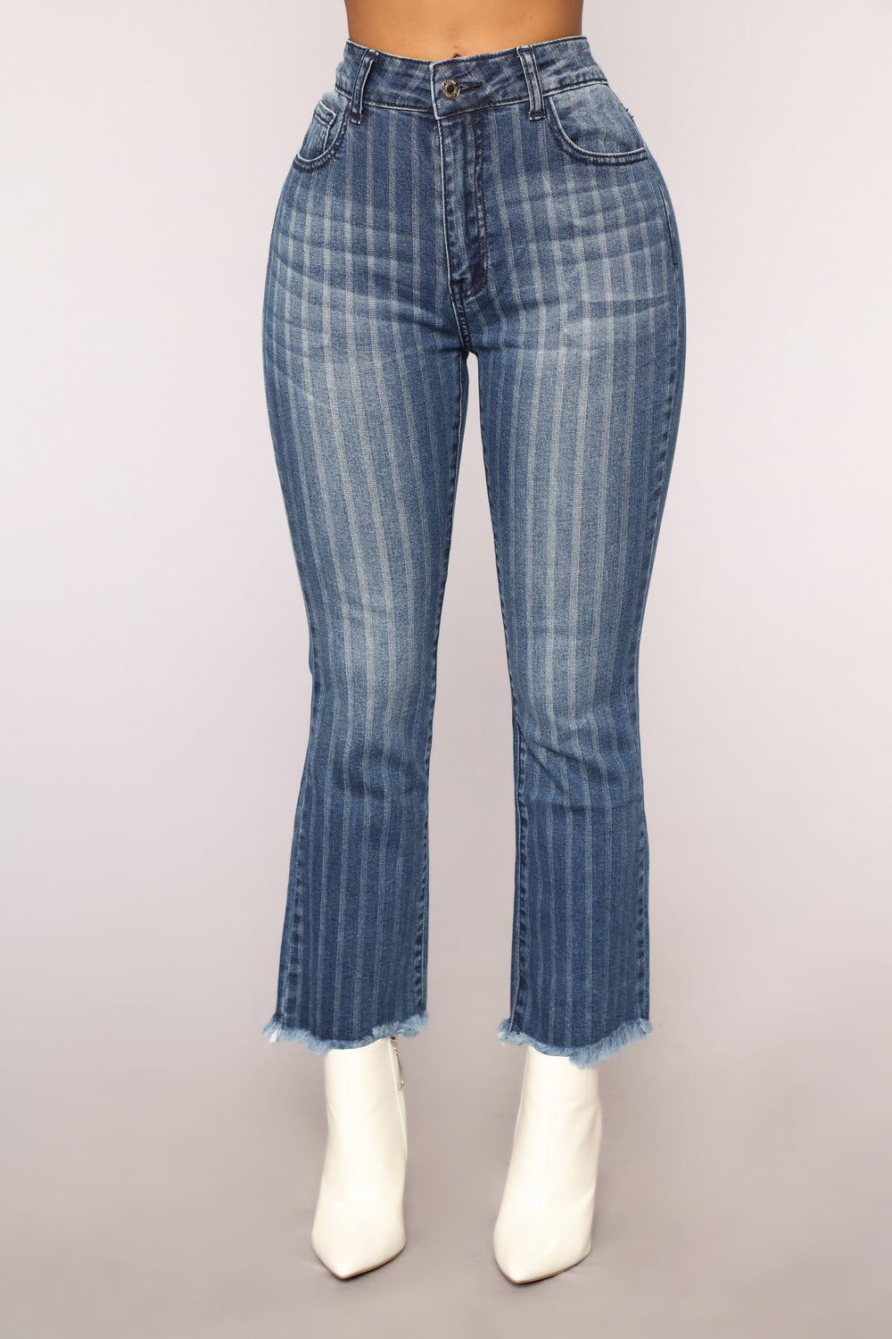 All Aboard Striped Ankle Jeans - Dark Wash