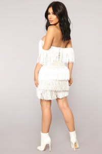 Coco Fringe Dress - White