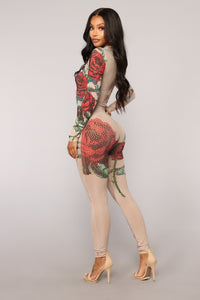Rarest Essence Floral Jumpsuit - Rose Gold