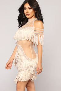Main Attraction Fringe Dress - Beige
