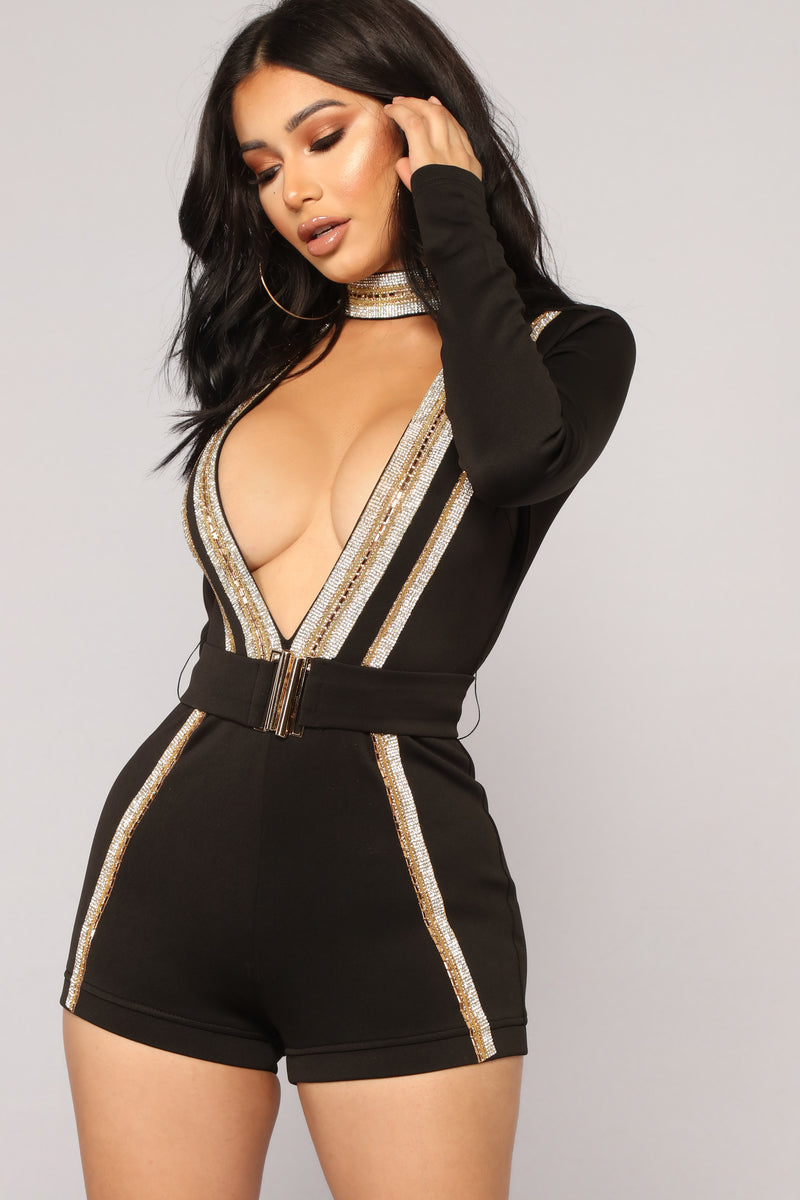Night Of A Thousand Stars Rhinestone Romper - Black