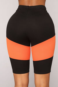 Ingrid Biker Shorts - Black/Orange
