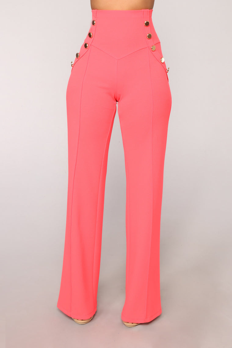 Anchors Away High Rise Pants - Coral