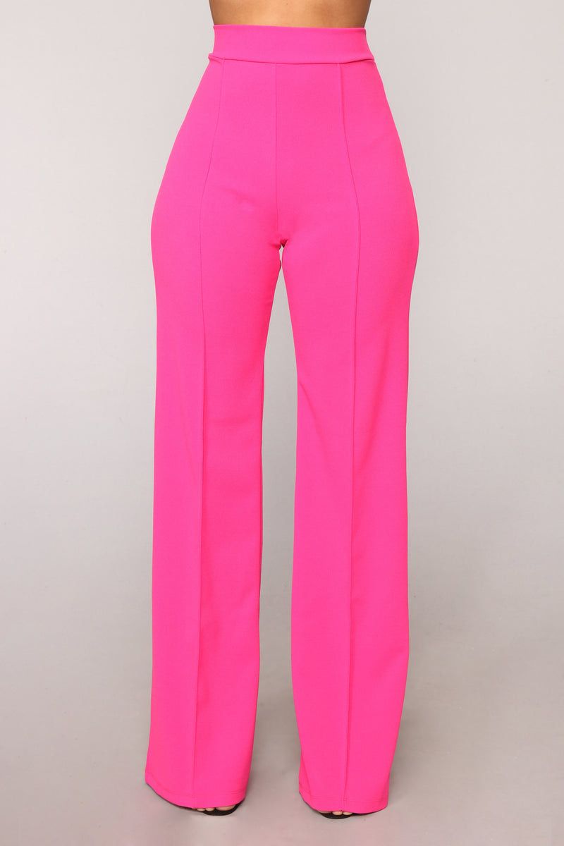 Victoria High Waisted Dress Pants - Fuchsia