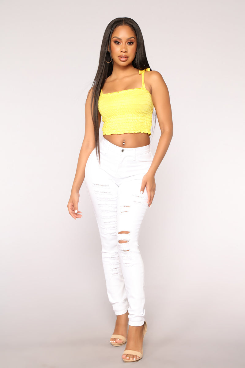 Keepin' Promises Distressed Skinny Jeans - White