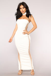 Bound To You Lace Up Dress - White
