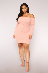 Jacklyn Off Shoulder Mini Dress - Light Pink Angle 7