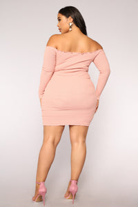 Jacklyn Off Shoulder Mini Dress - Light Pink Angle 9