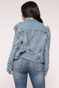 Break The Chain Denim Jacket - Medium Blue Wash