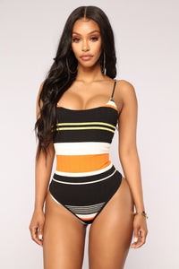Get You In Line Bodysuit - Orange