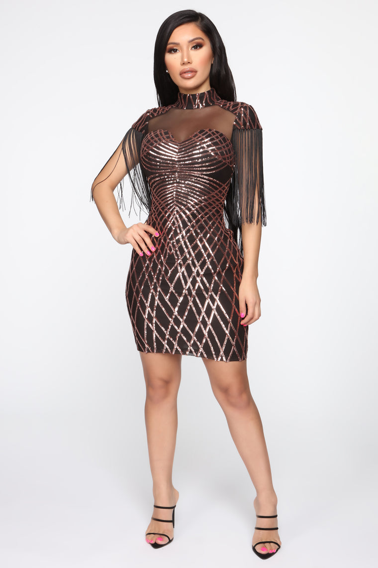 Glow Some More Sequin Fringe Dress - Black/Rose Gold