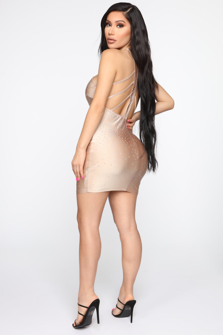 Blow You Away Rhinestone Mini Dress - Taupe