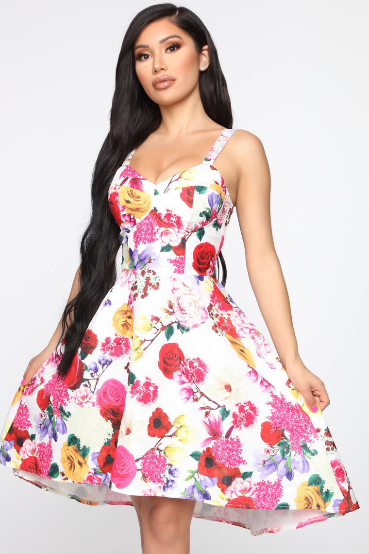 Delightful Days Floral Fit & Flare Dress   Pink/Combo by Fashion Nova
