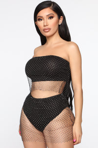 Desert Sparkle Mesh Cheeky Skirt - Black