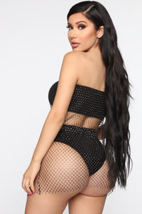 Desert Sparkle Mesh Cheeky Skirt - Black Angle 1