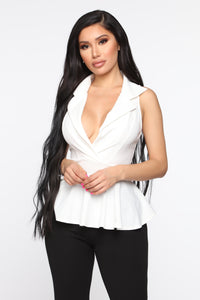 Flirty Boss Peplum Top - Ivory